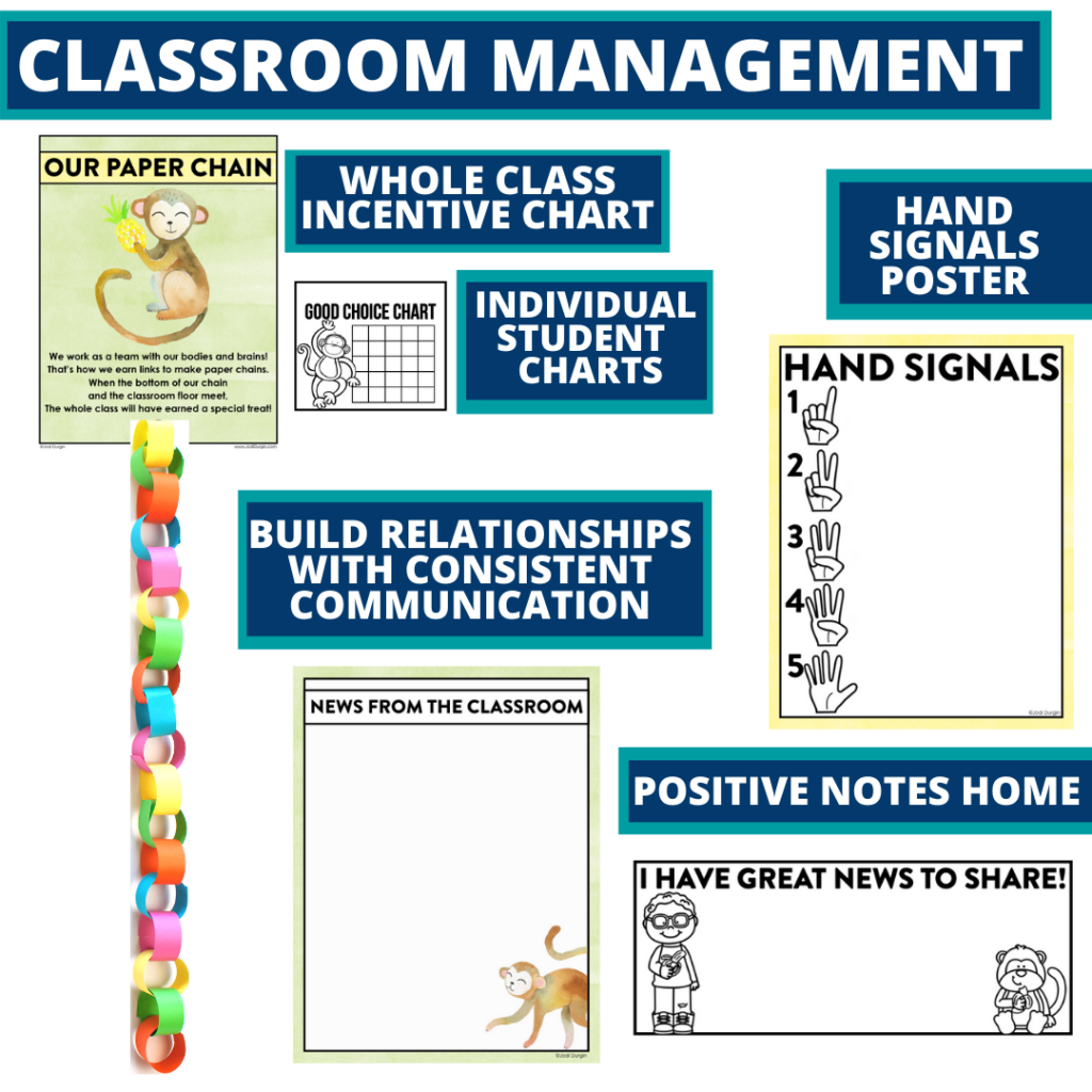 monkey themed tools for improving student behavior in an elementary classroom