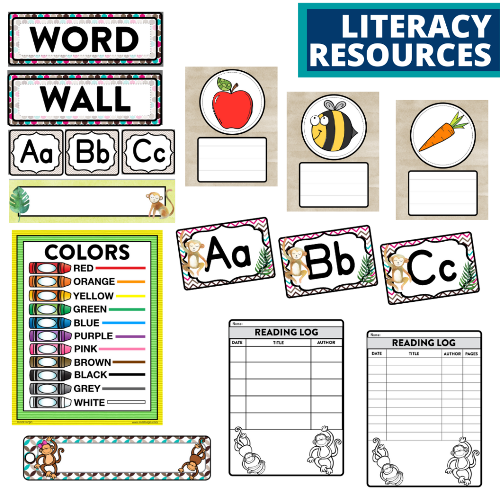 elementary classroom word wall and reading logs for a monkey themed classroom