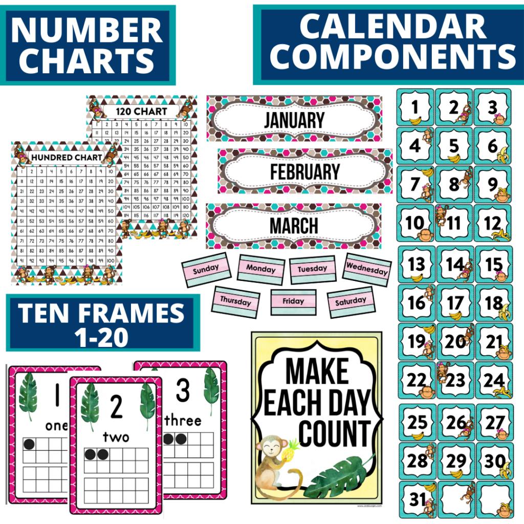 DIY printable classroom calendar for elementary teachers using a monkey classroom theme