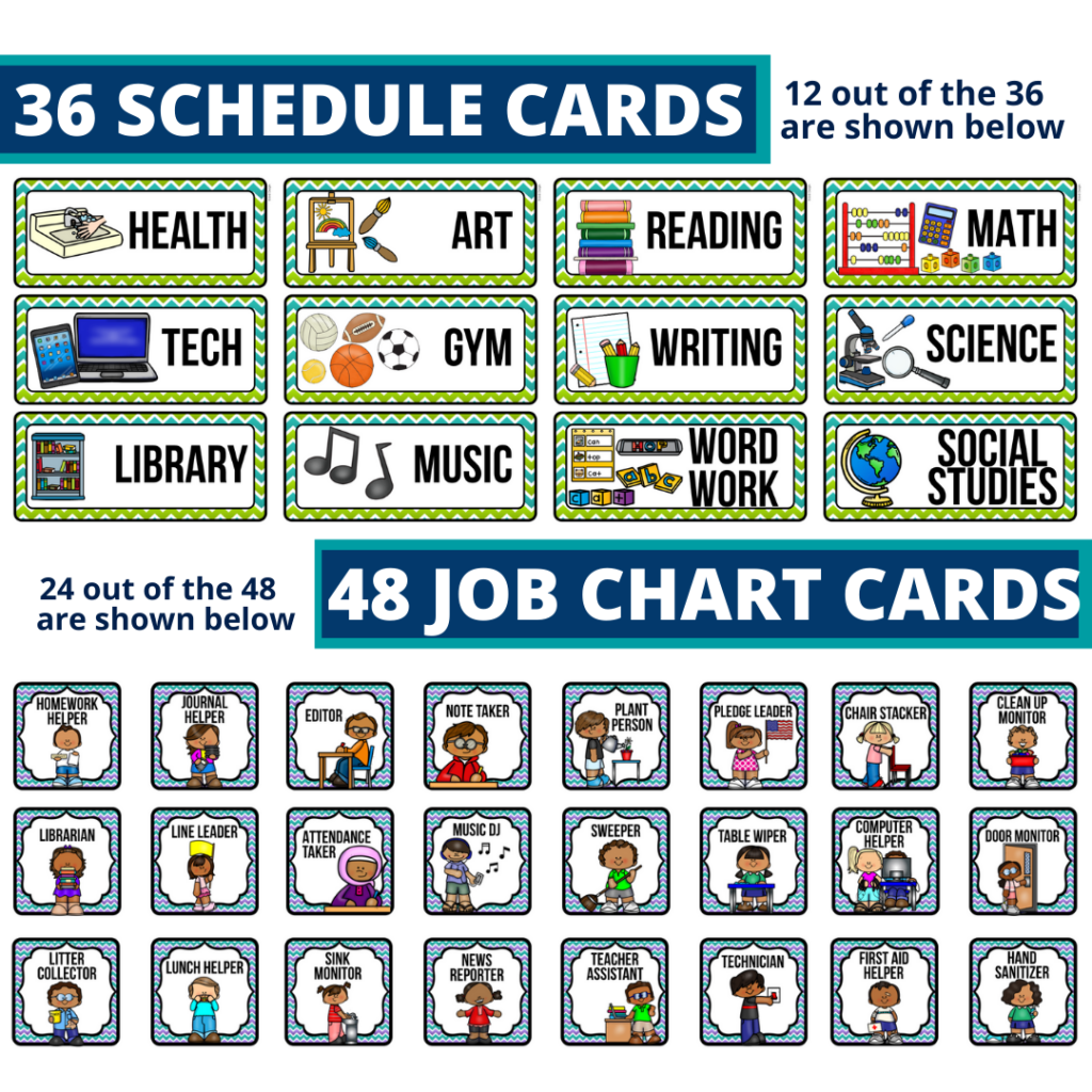editable elementary schedule cards and job chart labels with a monster theme