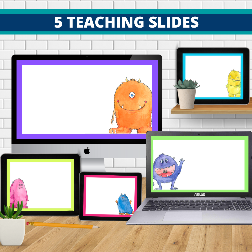 monster theme google classroom slides and powerpoint templates for elementary teachers shown on computers
