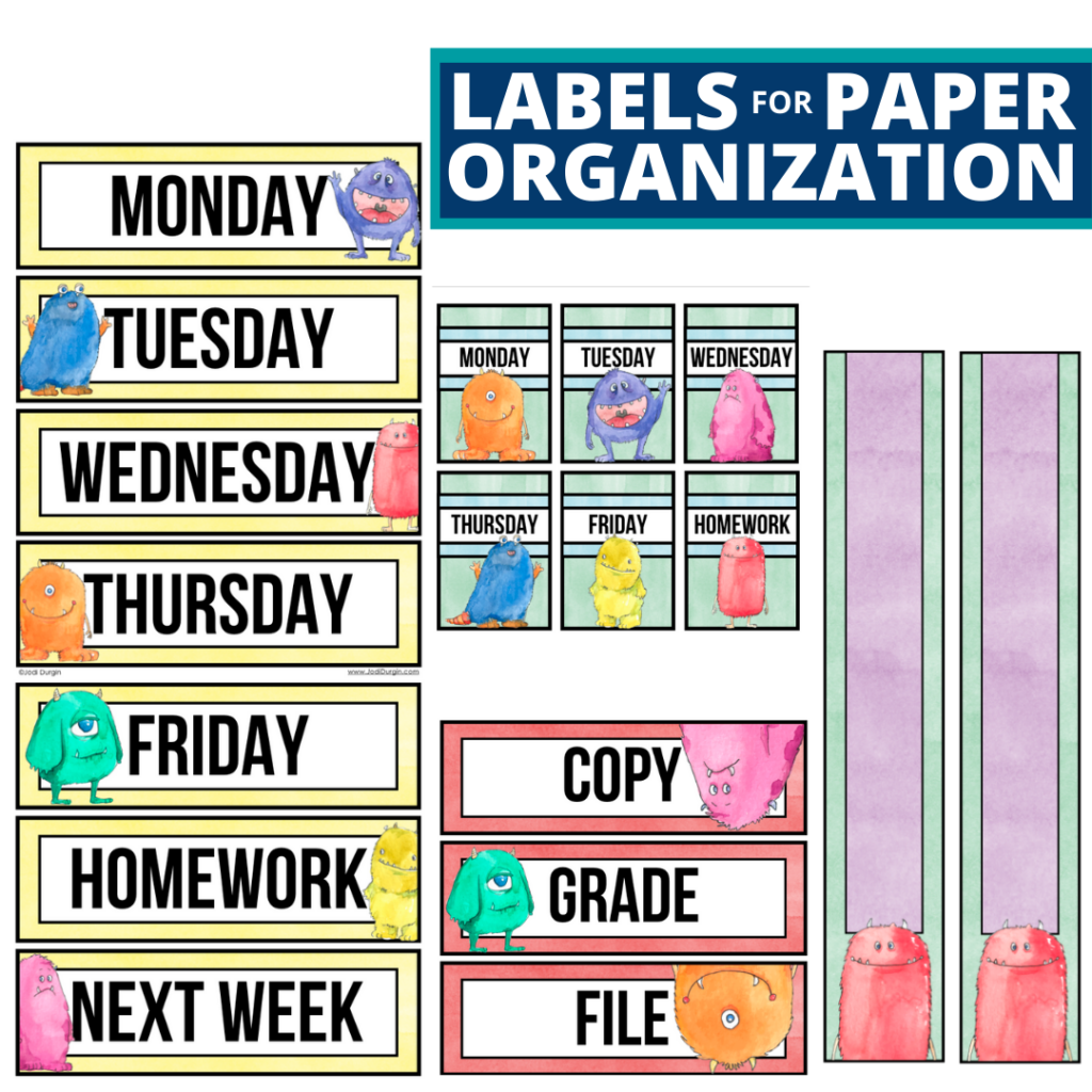 monster theme labels for paper organization in the classroom