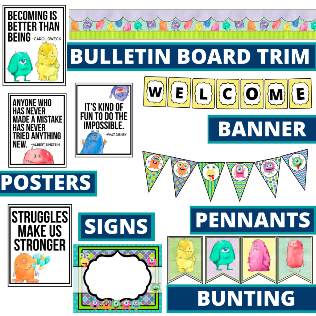 monster theme bulletin board trim with pennants, banner and bunting