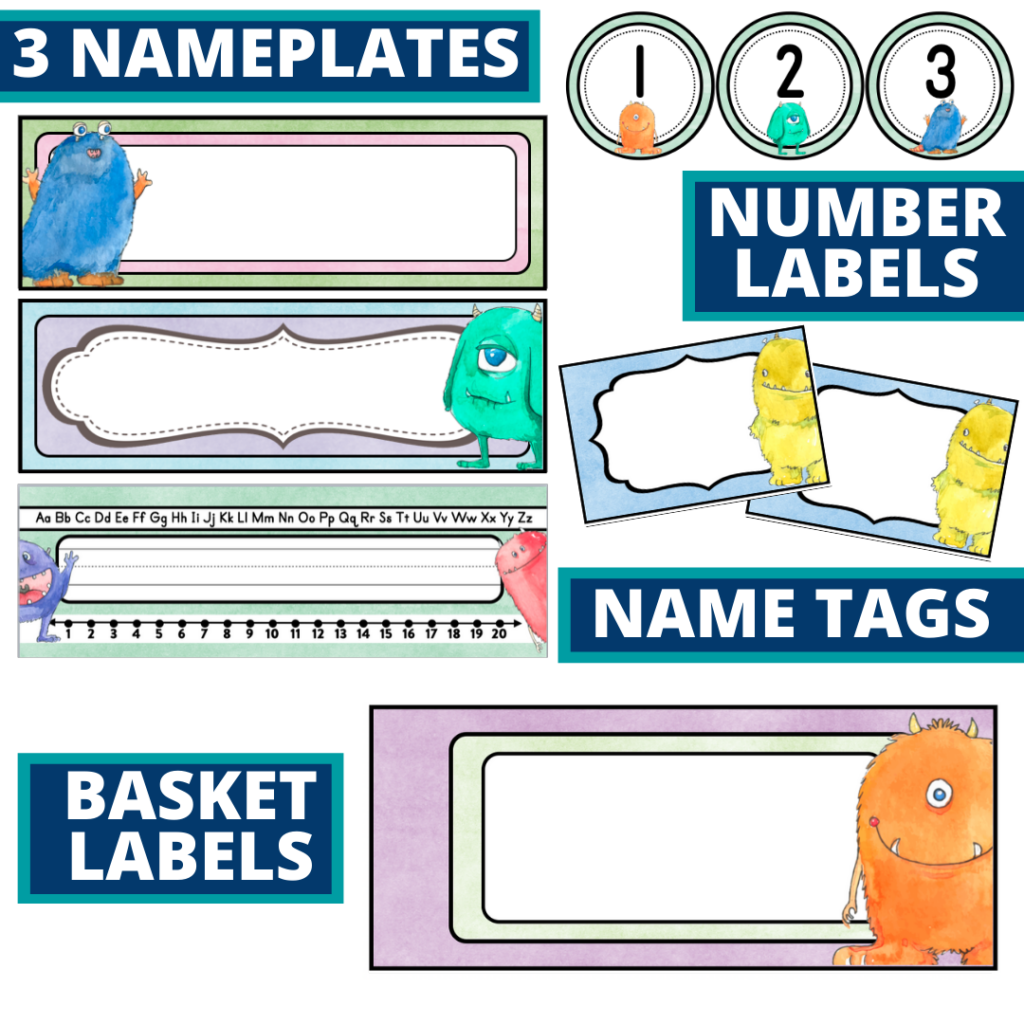 editable nameplates and basket labels for a monster themed classroom