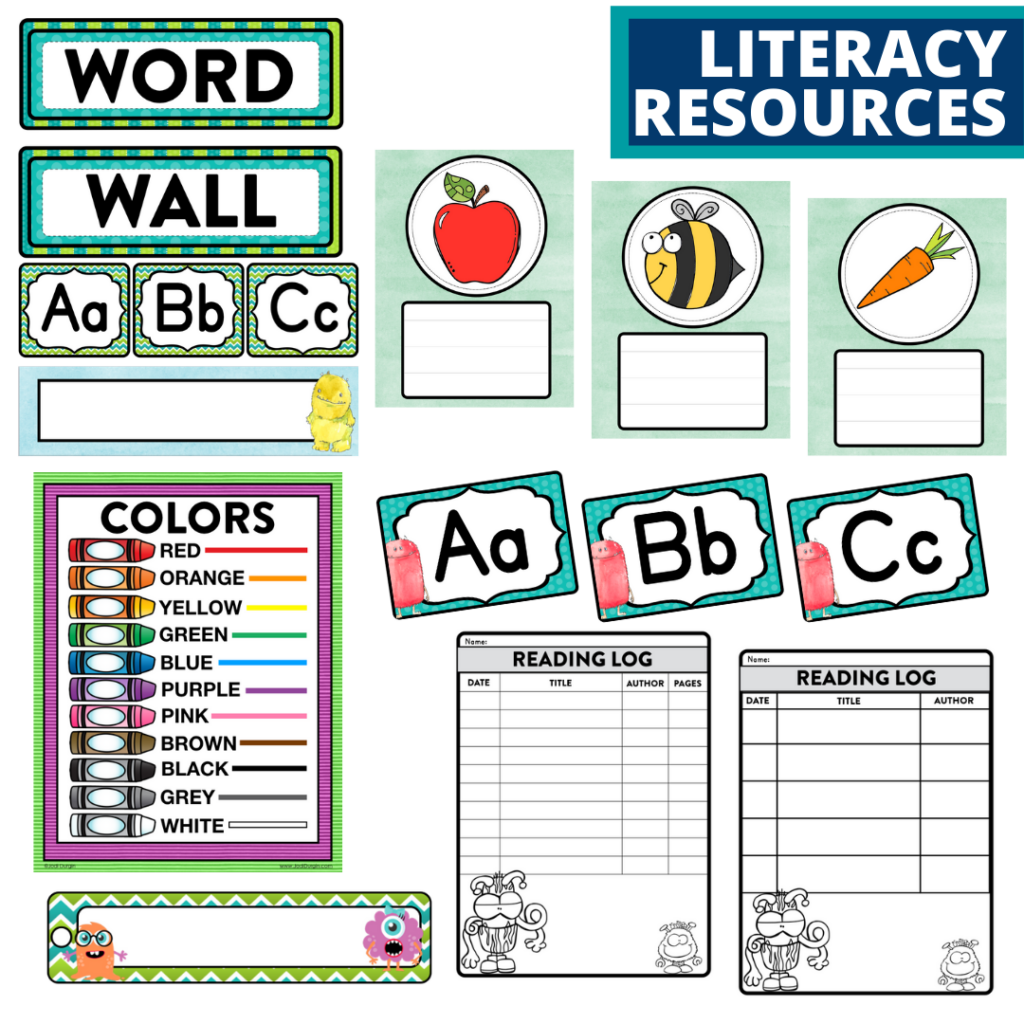 elementary classroom word wall and reading logs for a monster themed classroom