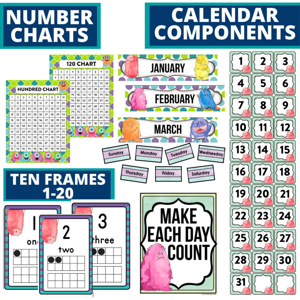 DIY printable classroom calendar for elementary teachers using a monster classroom theme