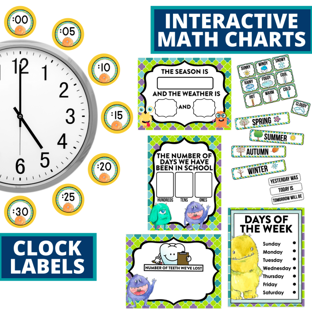 monster themed math resources for telling time, place value and the days of the week