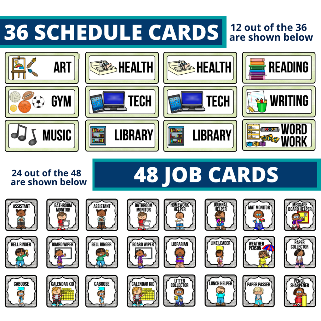 editable elementary schedule cards and job chart labels with a mountains theme