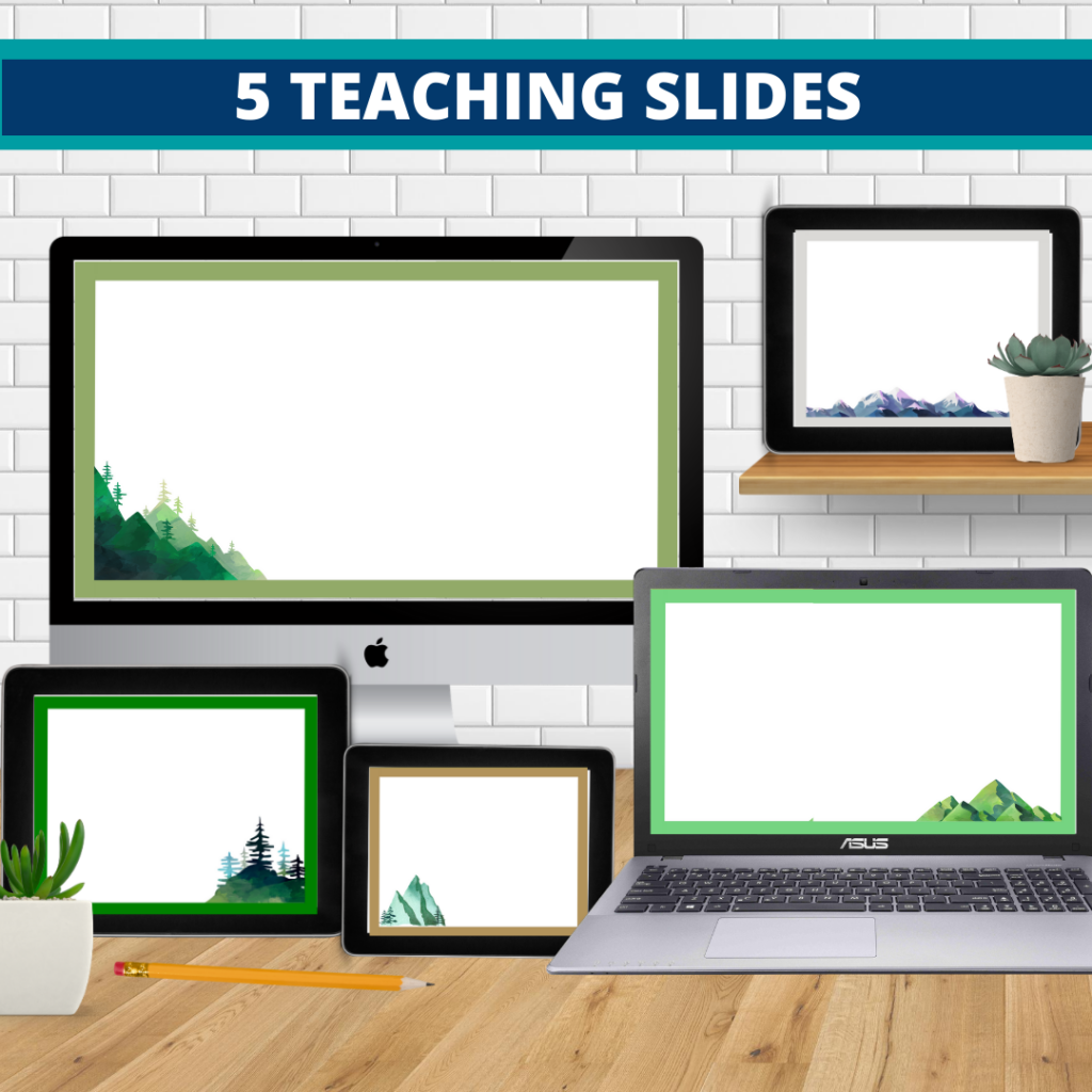 mountains theme google classroom slides and powerpoint templates for elementary teachers shown on computers