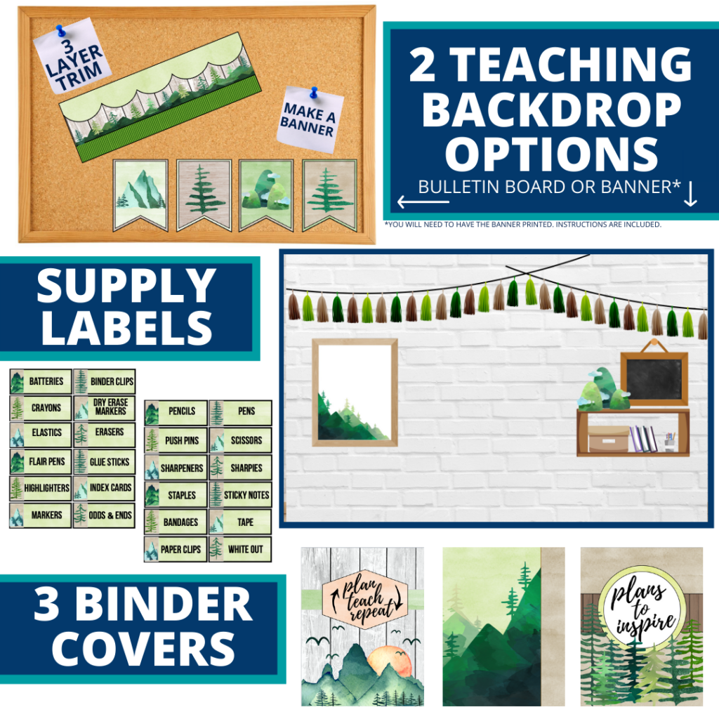 mountains themed background for a cheap and easy online teaching or a VIP kid backdrop