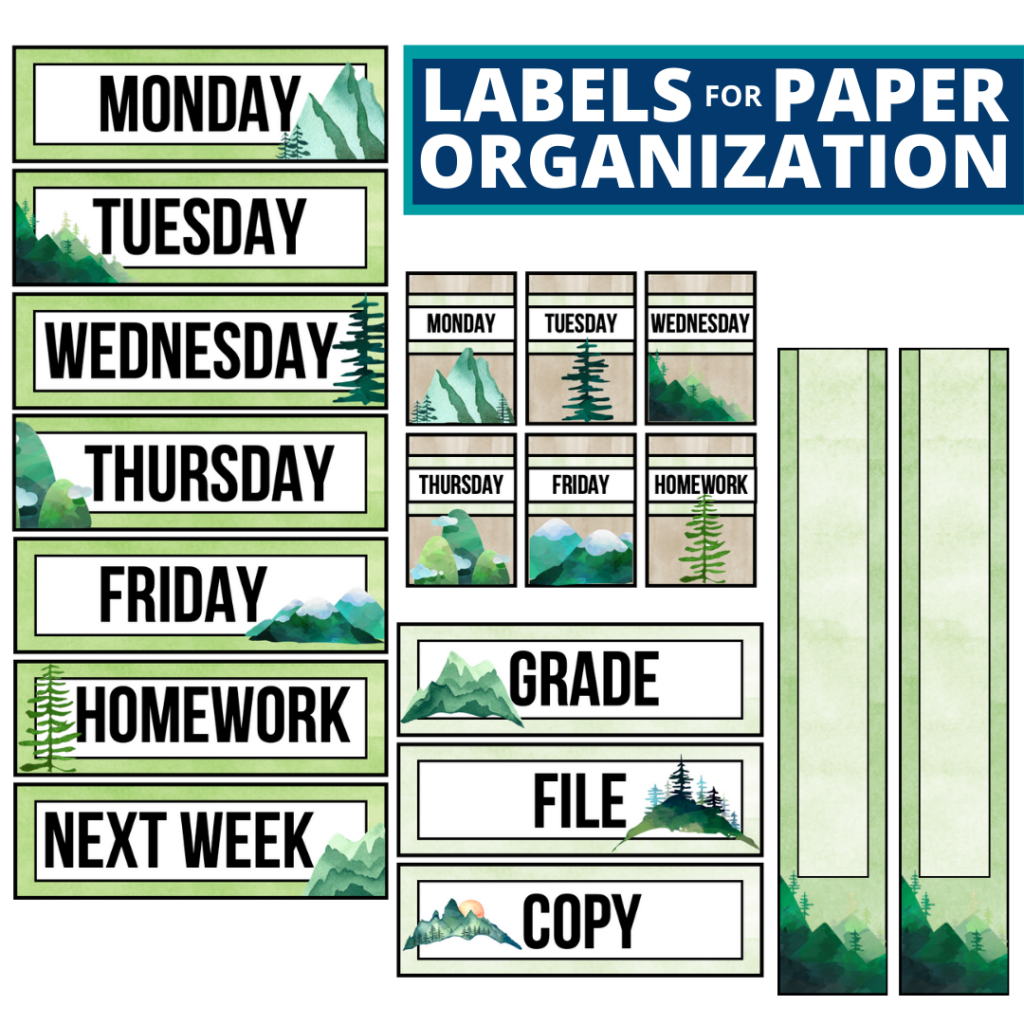 mountains theme labels for paper organization in the classroom