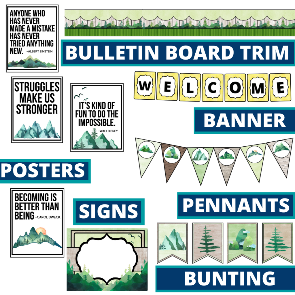 mountains theme bulletin board trim with pennants, banner and bunting