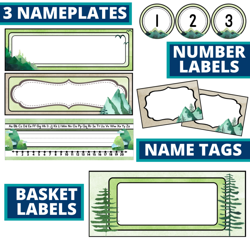 editable nameplates and basket labels for a mountains themed classroom