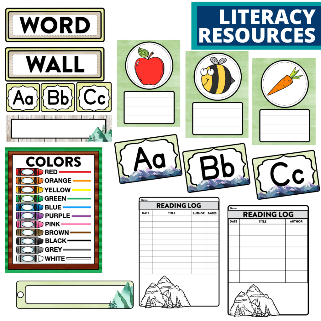 elementary classroom word wall and reading logs for a mountains themed classroom