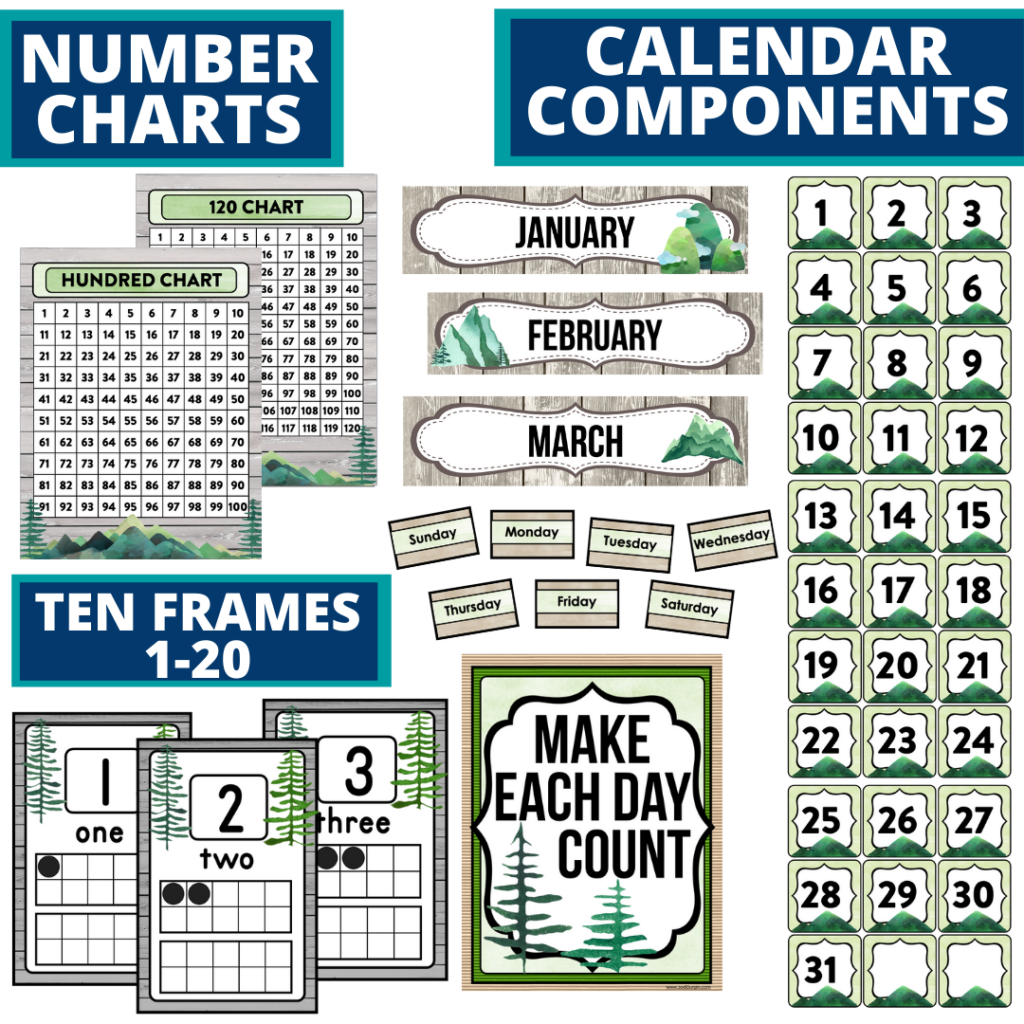 DIY printable classroom calendar for elementary teachers using a mountains classroom theme