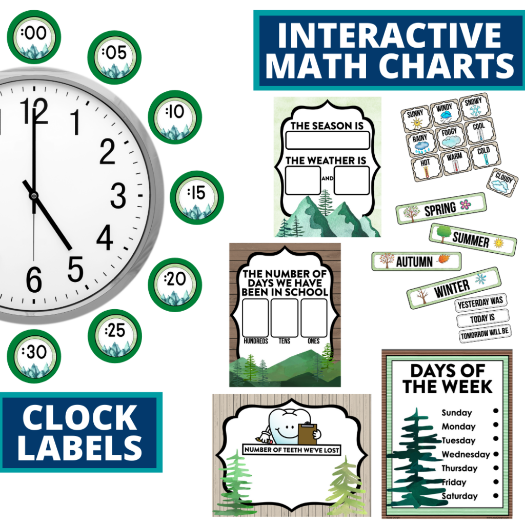 mountains themed math resources for telling time, place value and the days of the week