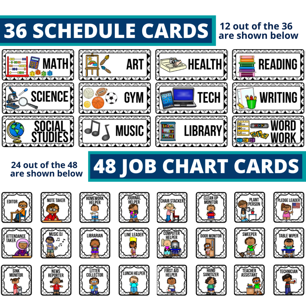editable elementary schedule cards and job chart labels with a mystery theme
