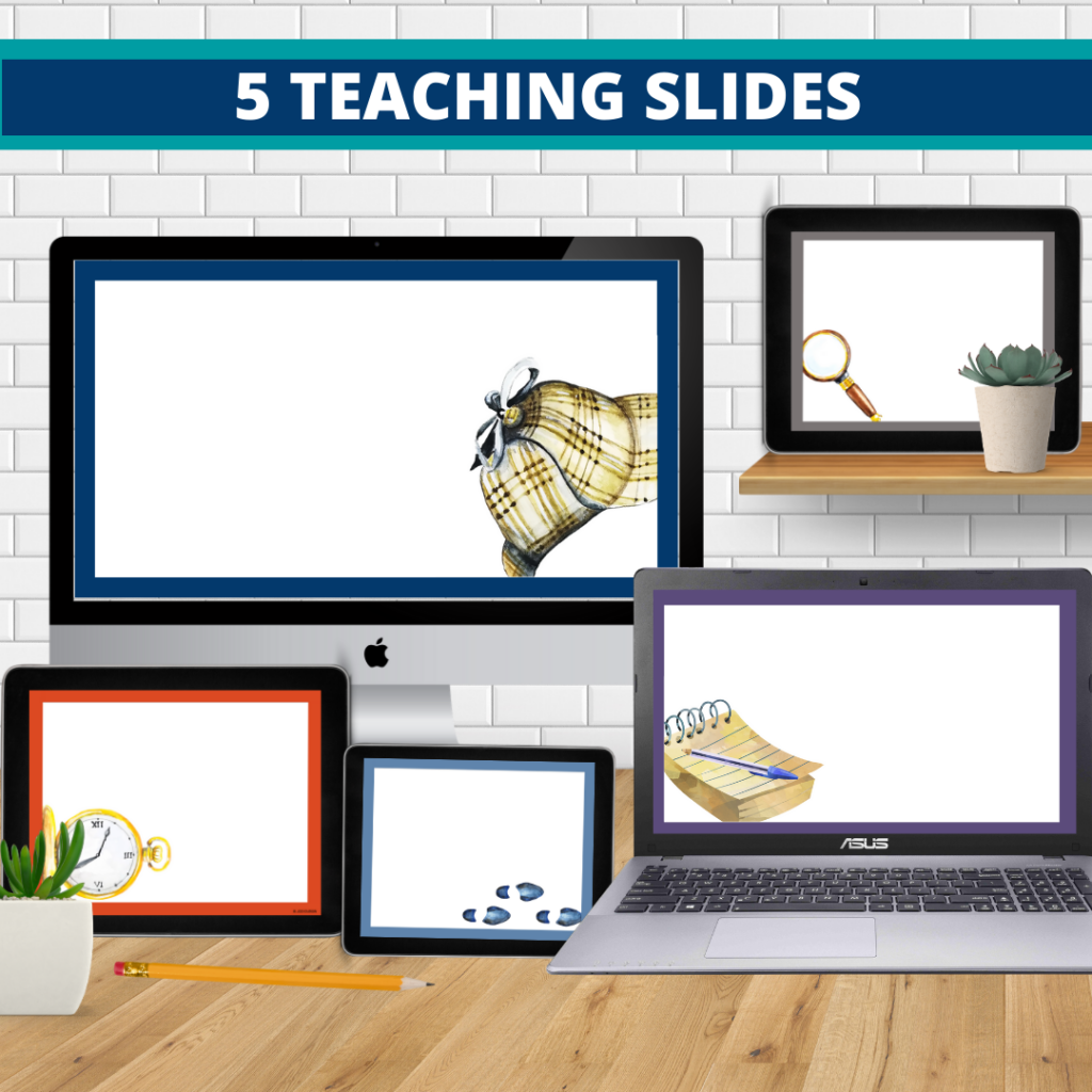 mystery theme google classroom slides and powerpoint templates for elementary teachers shown on computers