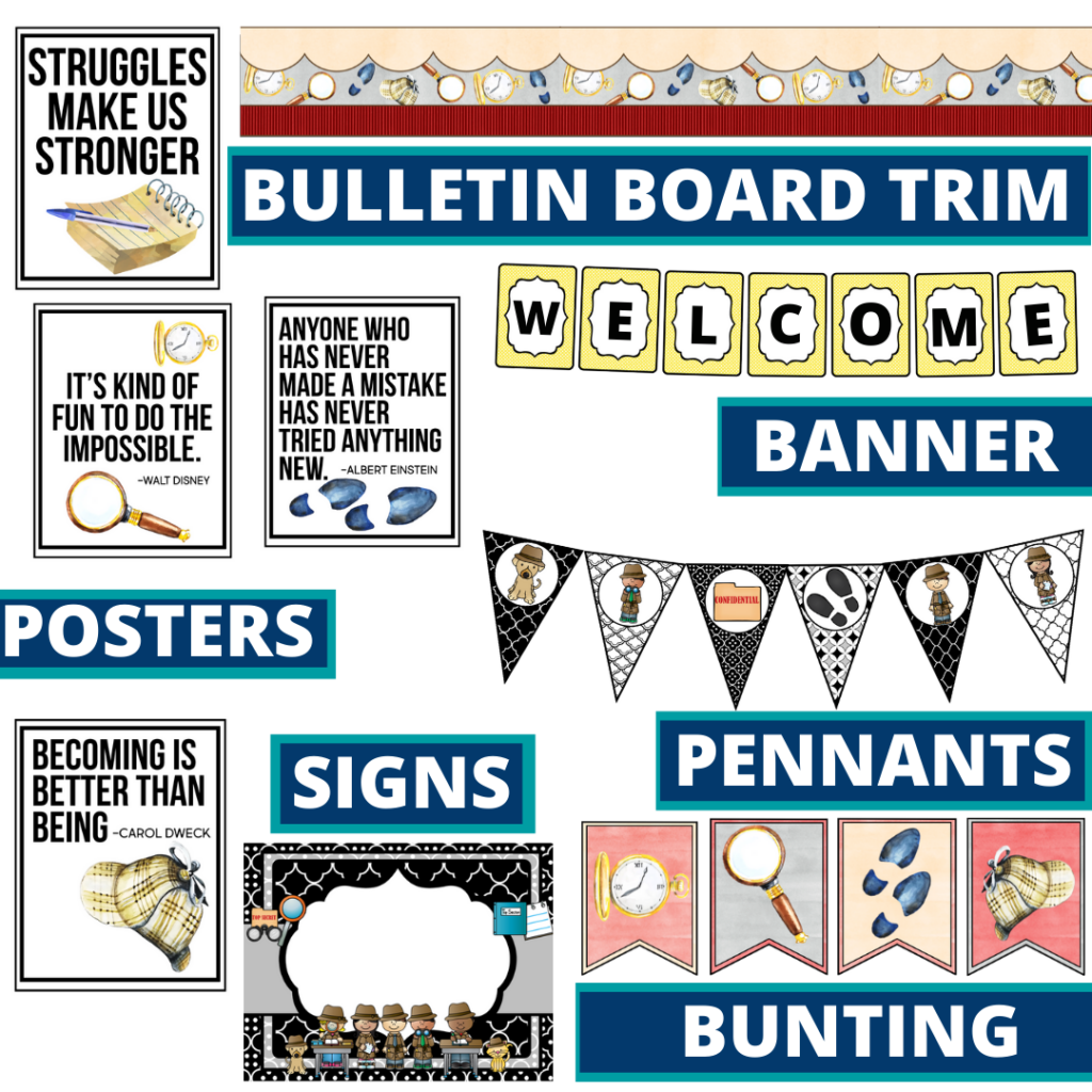 mystery theme bulletin board trim with pennants, banner and bunting