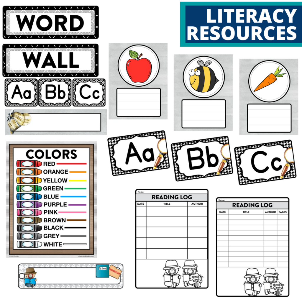 elementary classroom word wall and reading logs for a mystery themed classroom