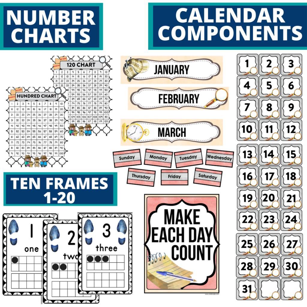 DIY printable classroom calendar for elementary teachers using a mystery classroom theme