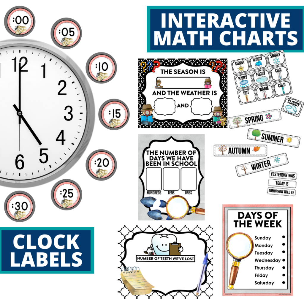 mystery themed math resources for telling time, place value and the days of the week