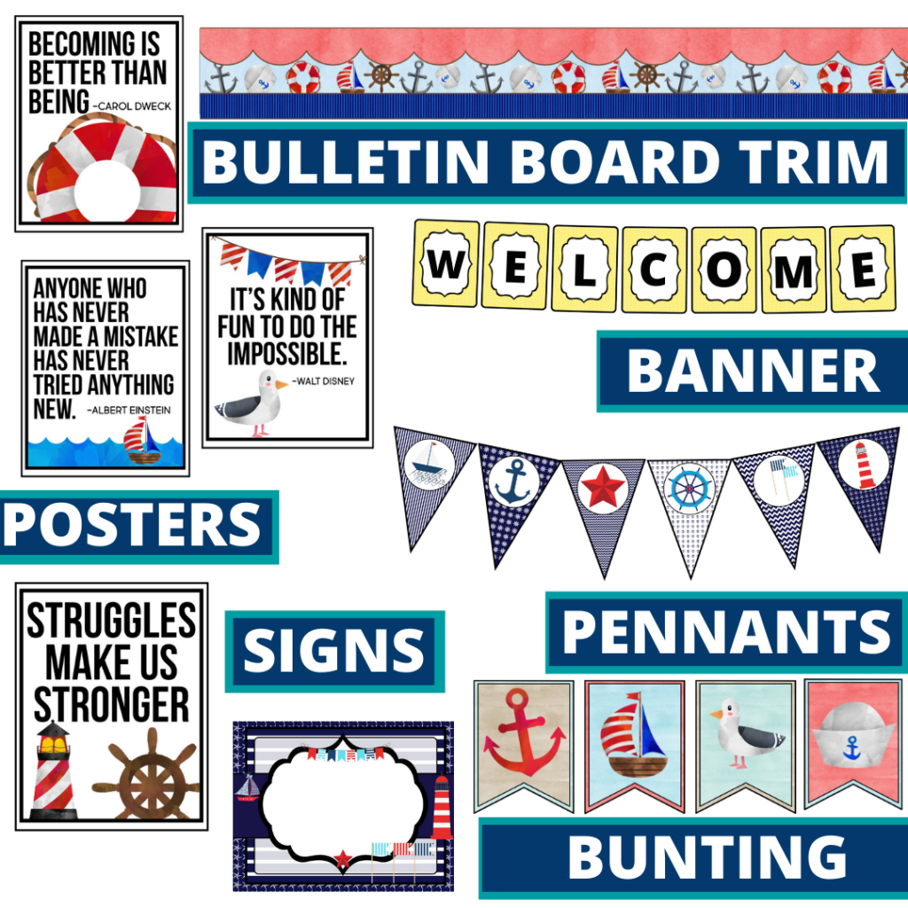 nautical theme bulletin board trim with pennants, banner and bunting