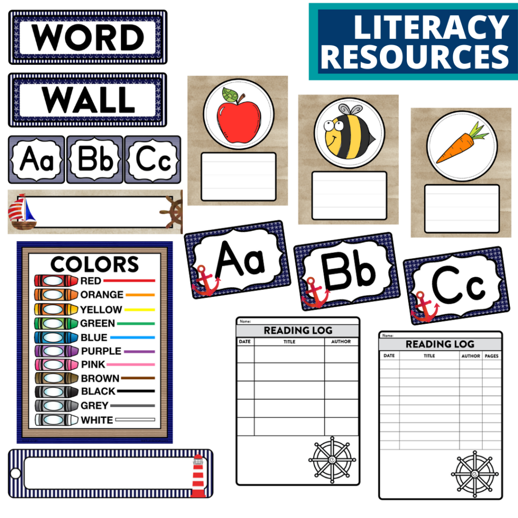 elementary classroom word wall and reading logs for a nautical themed classroom