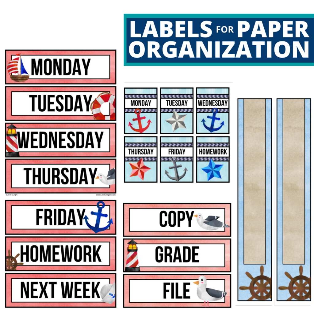 nautical theme labels for paper organization in the classroom