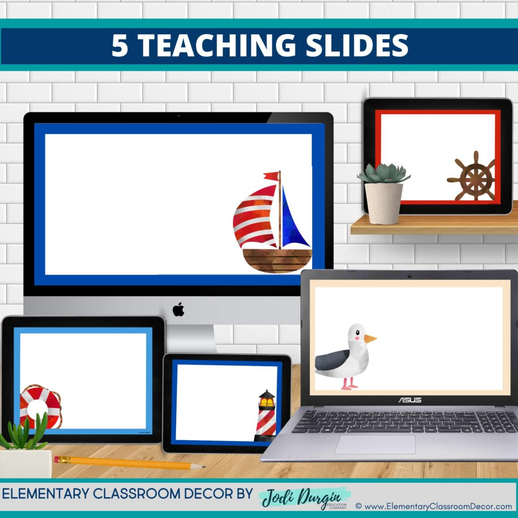 nautical theme google classroom slides and powerpoint templates for elementary teachers shown on computers