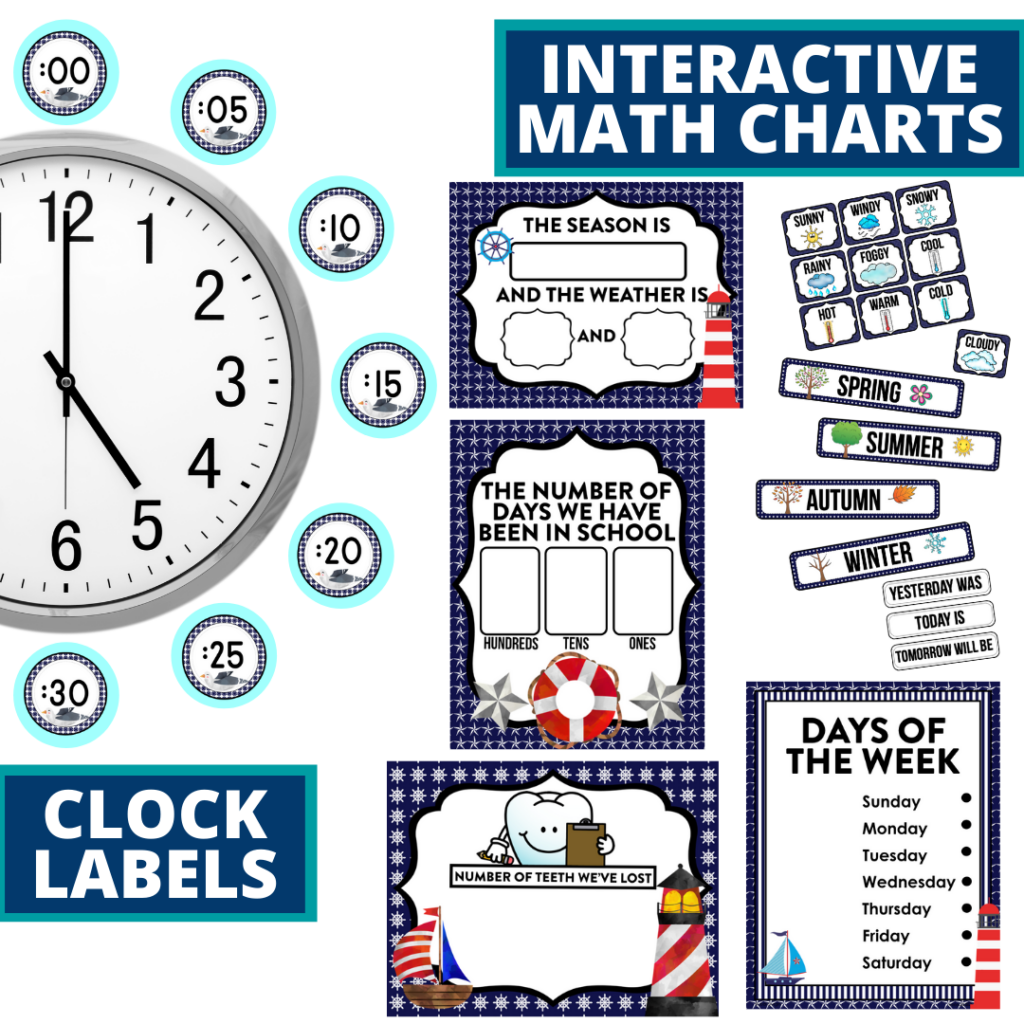 nautical themed math resources for telling time, place value and the days of the week