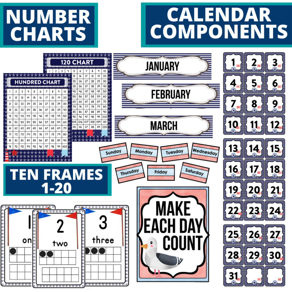 DIY printable classroom calendar for elementary teachers using a nautical classroom theme