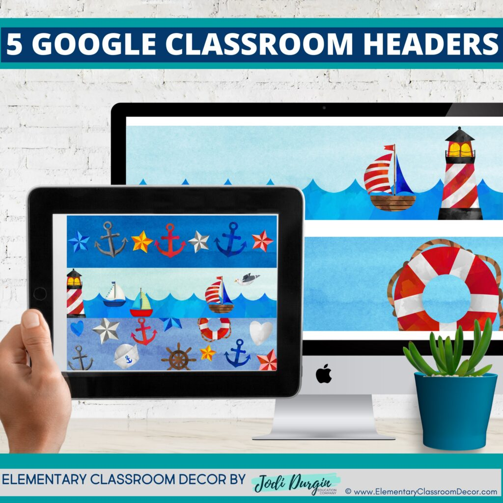 nautical classroom themed google classroom headers and google classroom banners
