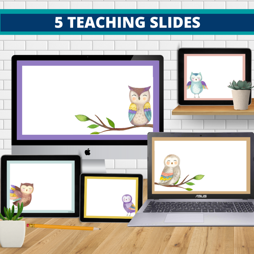 owls theme google classroom slides and powerpoint templates for elementary teachers shown on computers