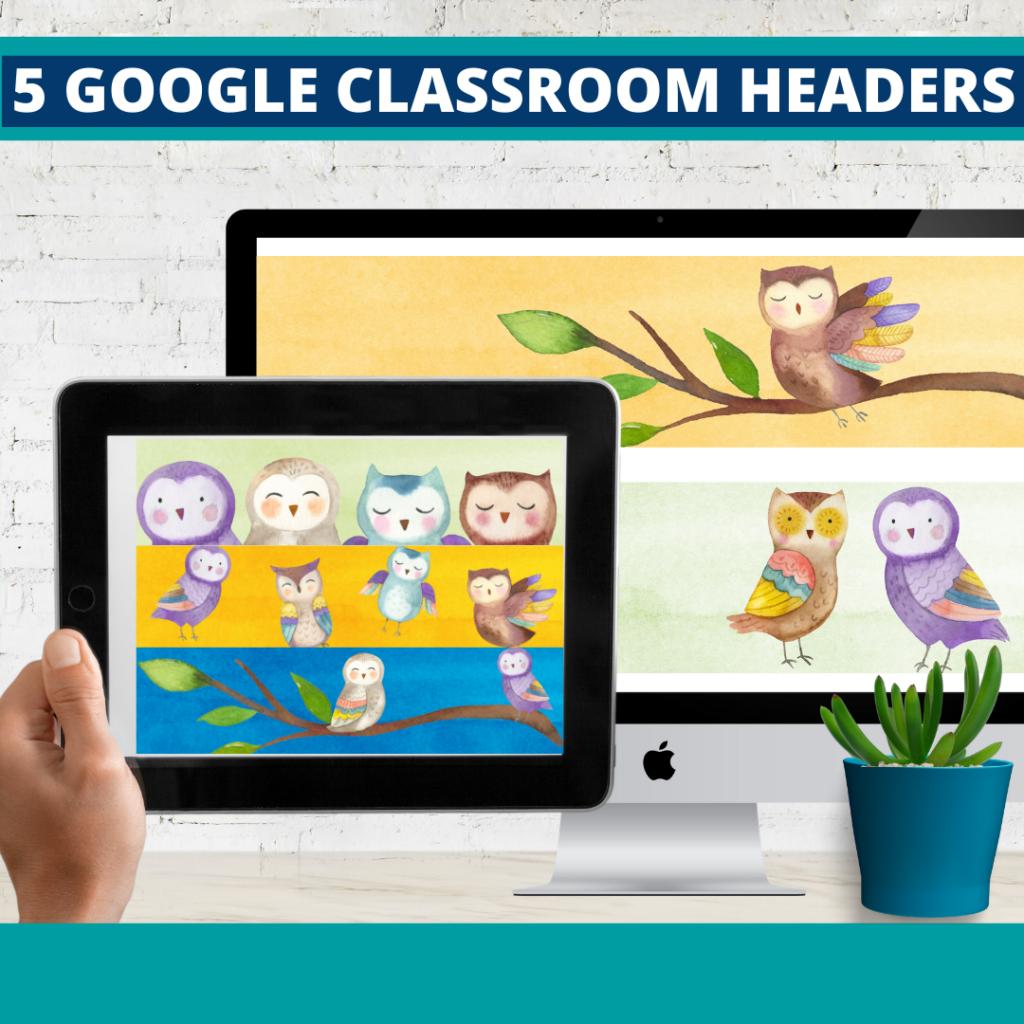 owls classroom themed google classroom headers and google classroom banners