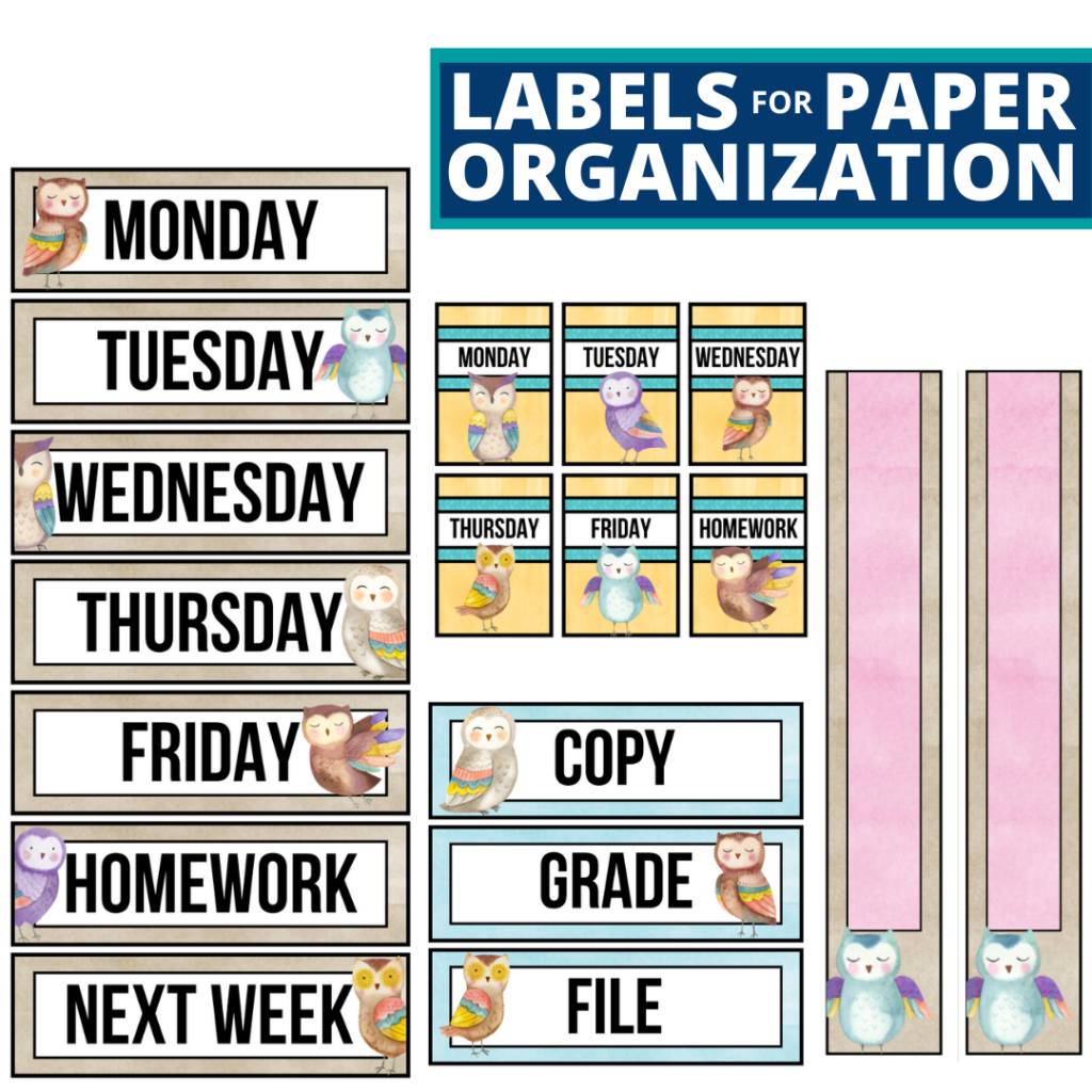 owls theme labels for paper organization in the classroom