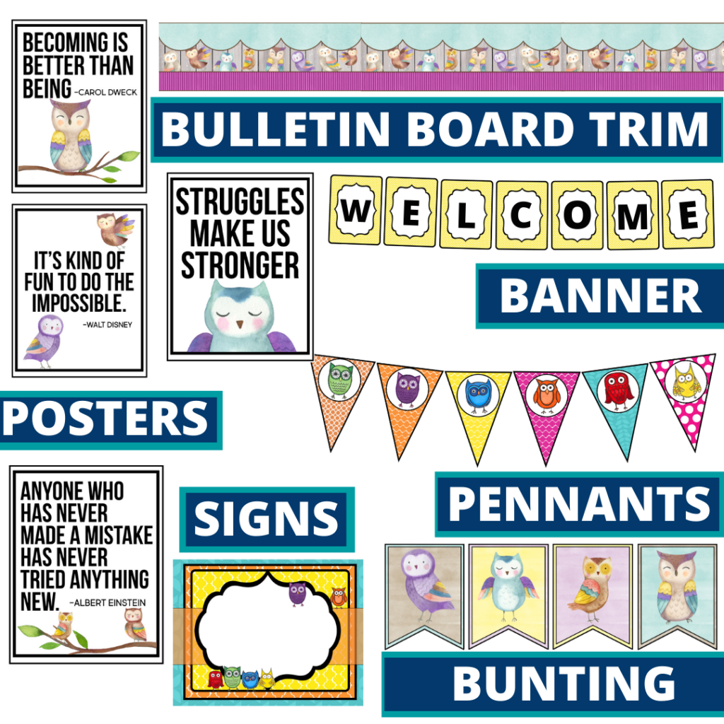 owls theme bulletin board trim with pennants, banner and bunting