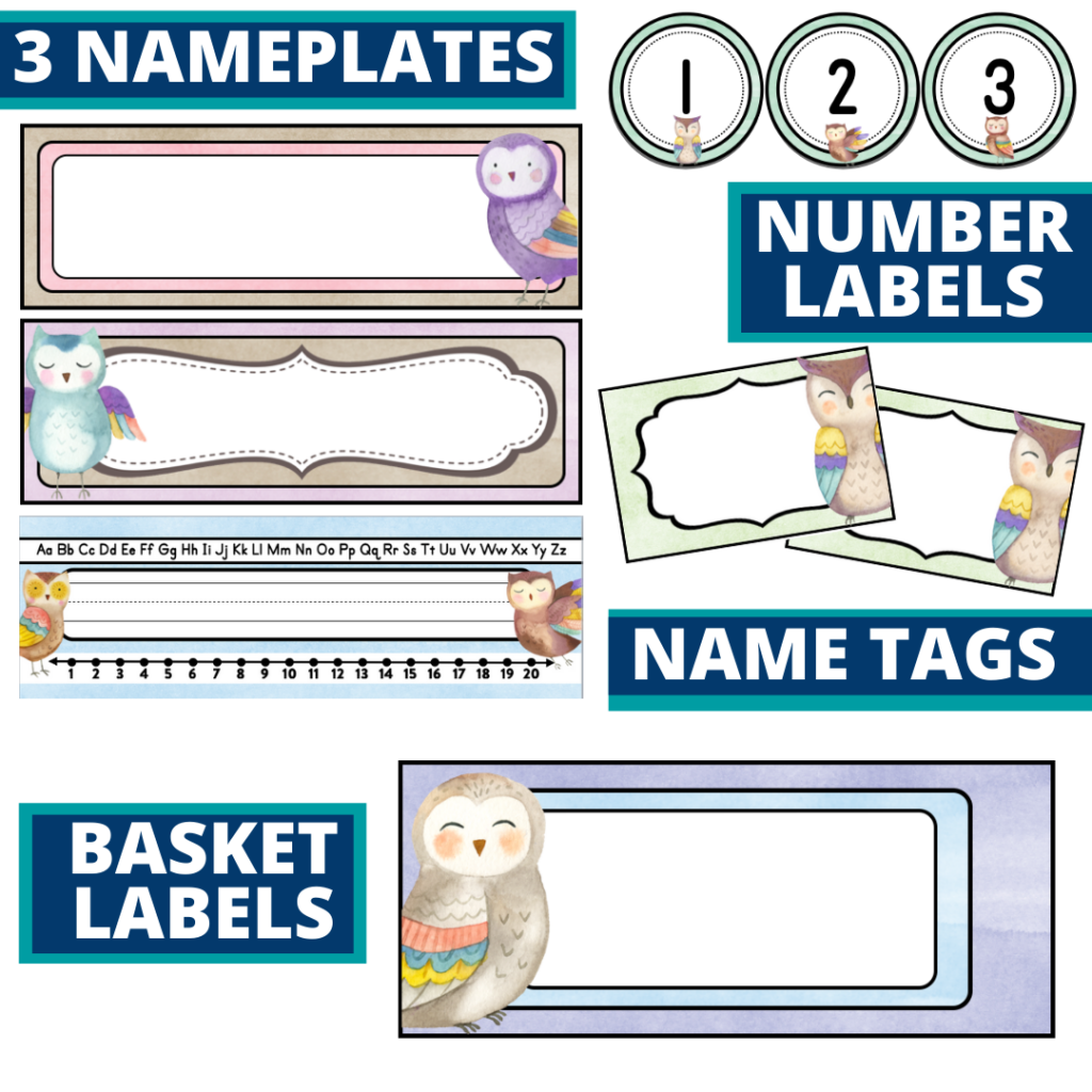 editable nameplates and basket labels for an owls themed classroom