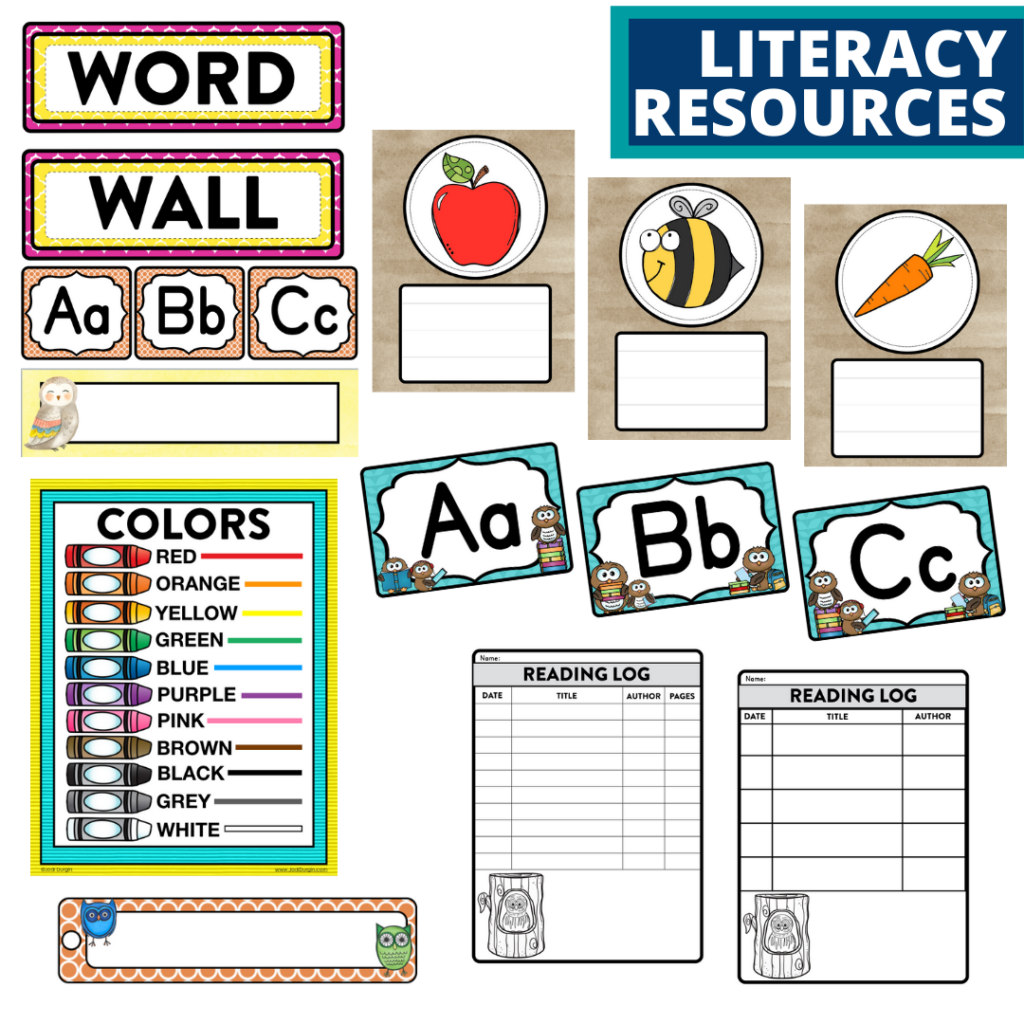 elementary classroom word wall and reading logs for an owls themed classroom