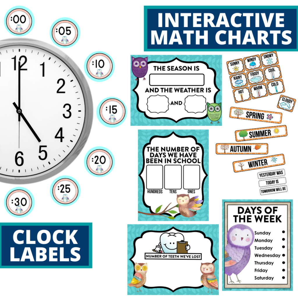 owls themed math resources for telling time, place value and the days of the week
