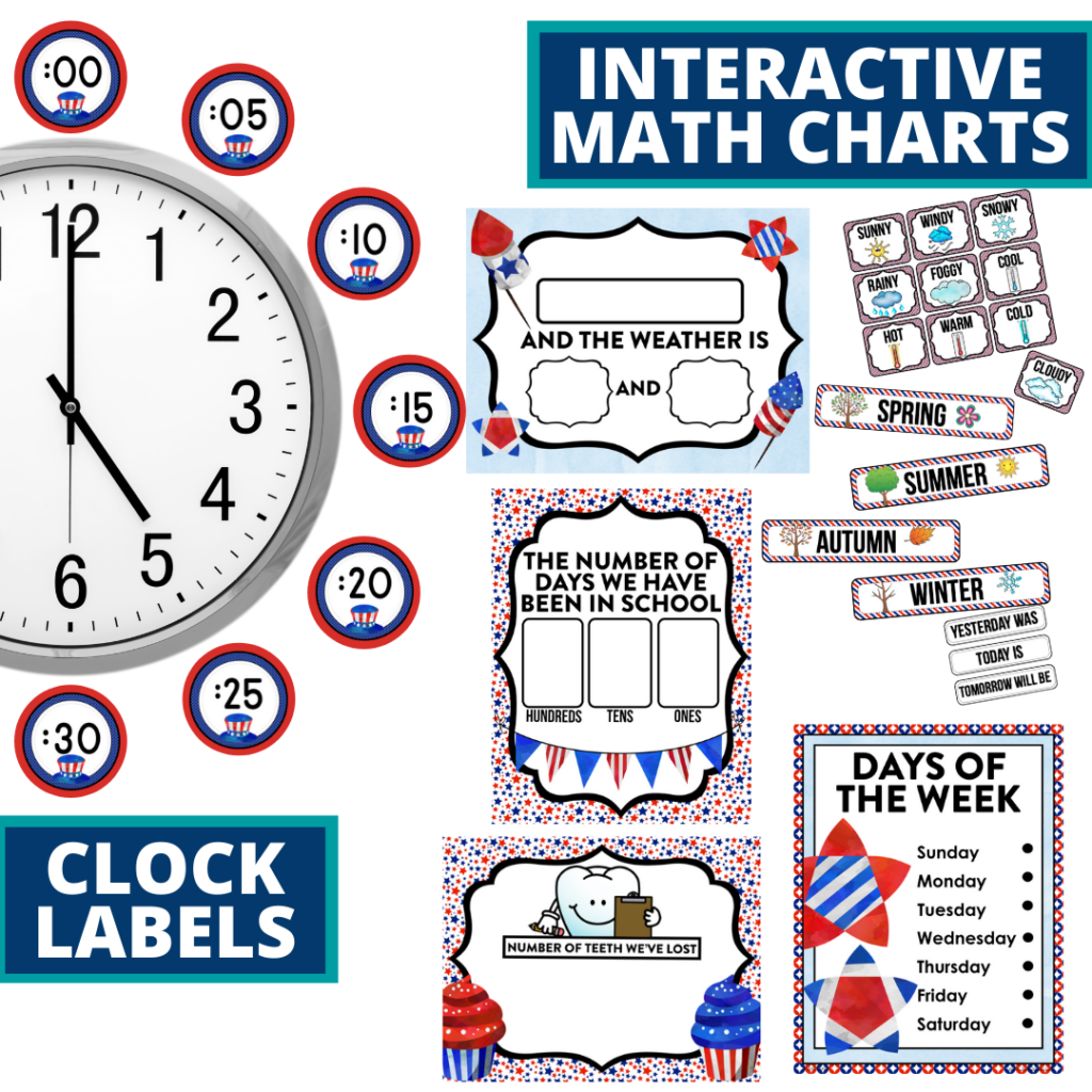 patriotic themed math resources for telling time, place value and the days of the week