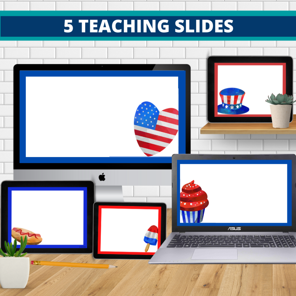 patriotic theme google classroom slides and powerpoint templates for elementary teachers shown on computers