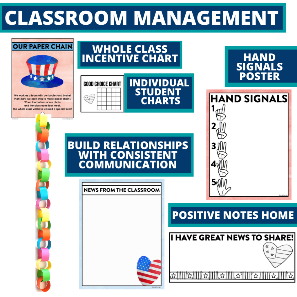 patriotic themed tools for improving student behavior in an elementary classroom