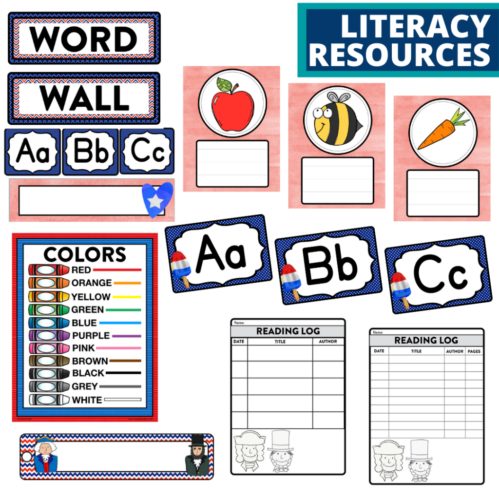 elementary classroom word wall and reading logs for a patriotic themed classroom