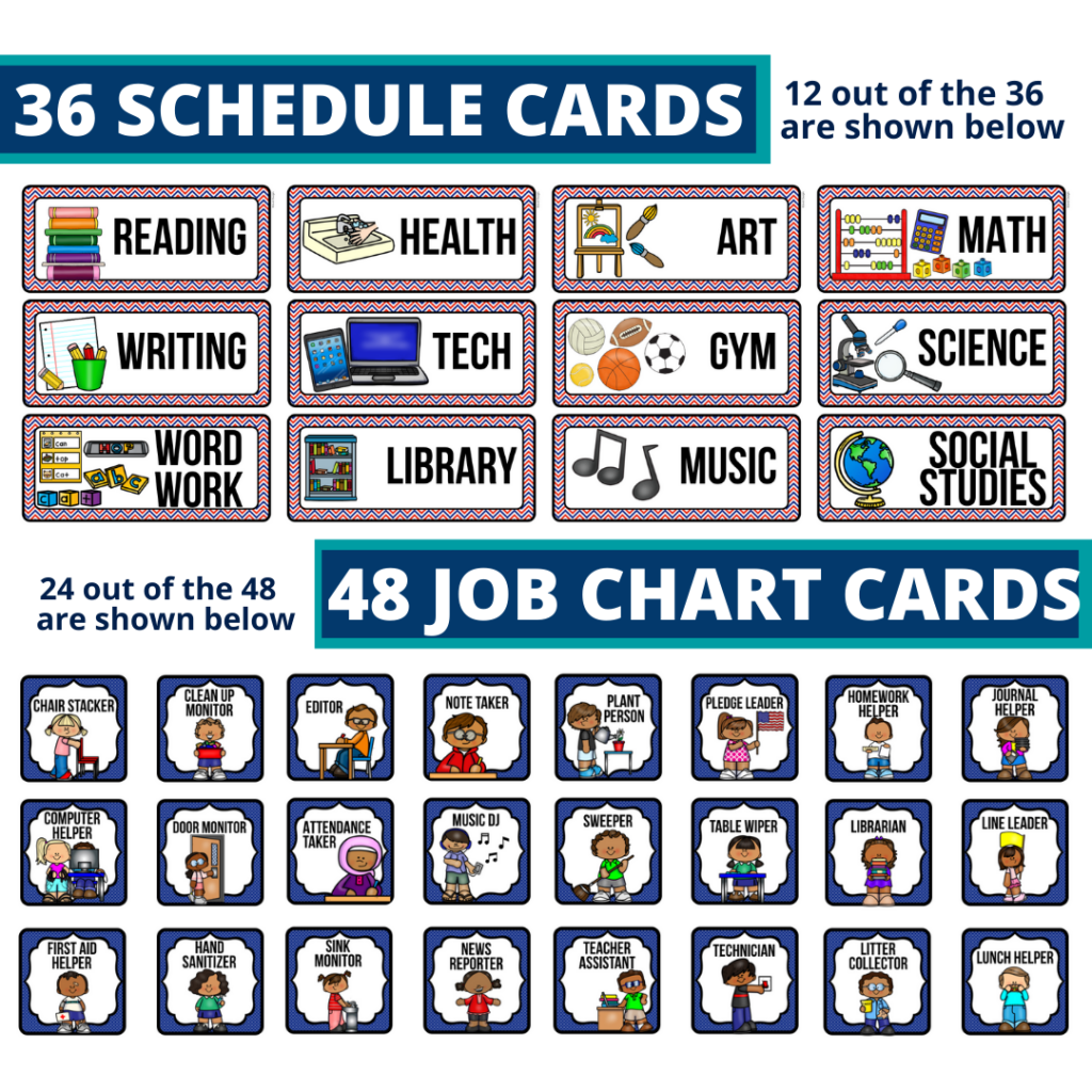 editable elementary schedule cards and job chart labels with a patriotic theme