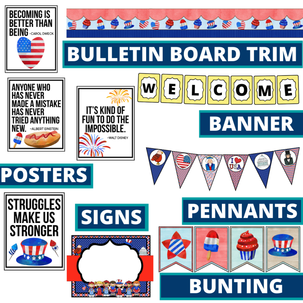 patriotic theme bulletin board trim with pennants, banner and bunting