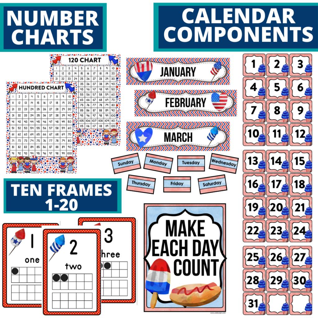 DIY printable classroom calendar for elementary teachers using a patriotic classroom theme