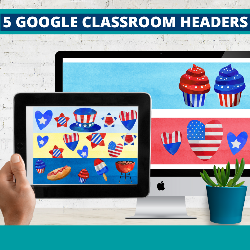 patriotic classroom themed google classroom headers and google classroom banners