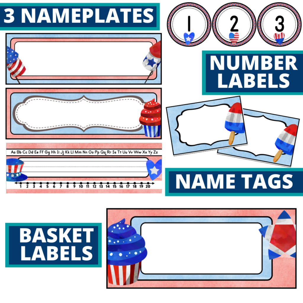 editable nameplates and basket labels for a patriotic themed classroom