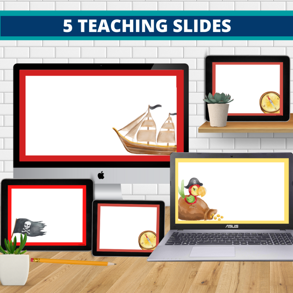 pirates theme google classroom slides and powerpoint templates for elementary teachers shown on computers